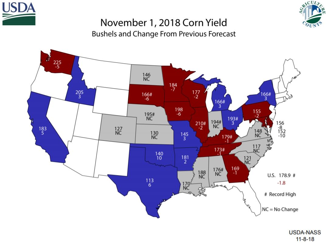 US map showing change in production from last USDA NASS forecast
