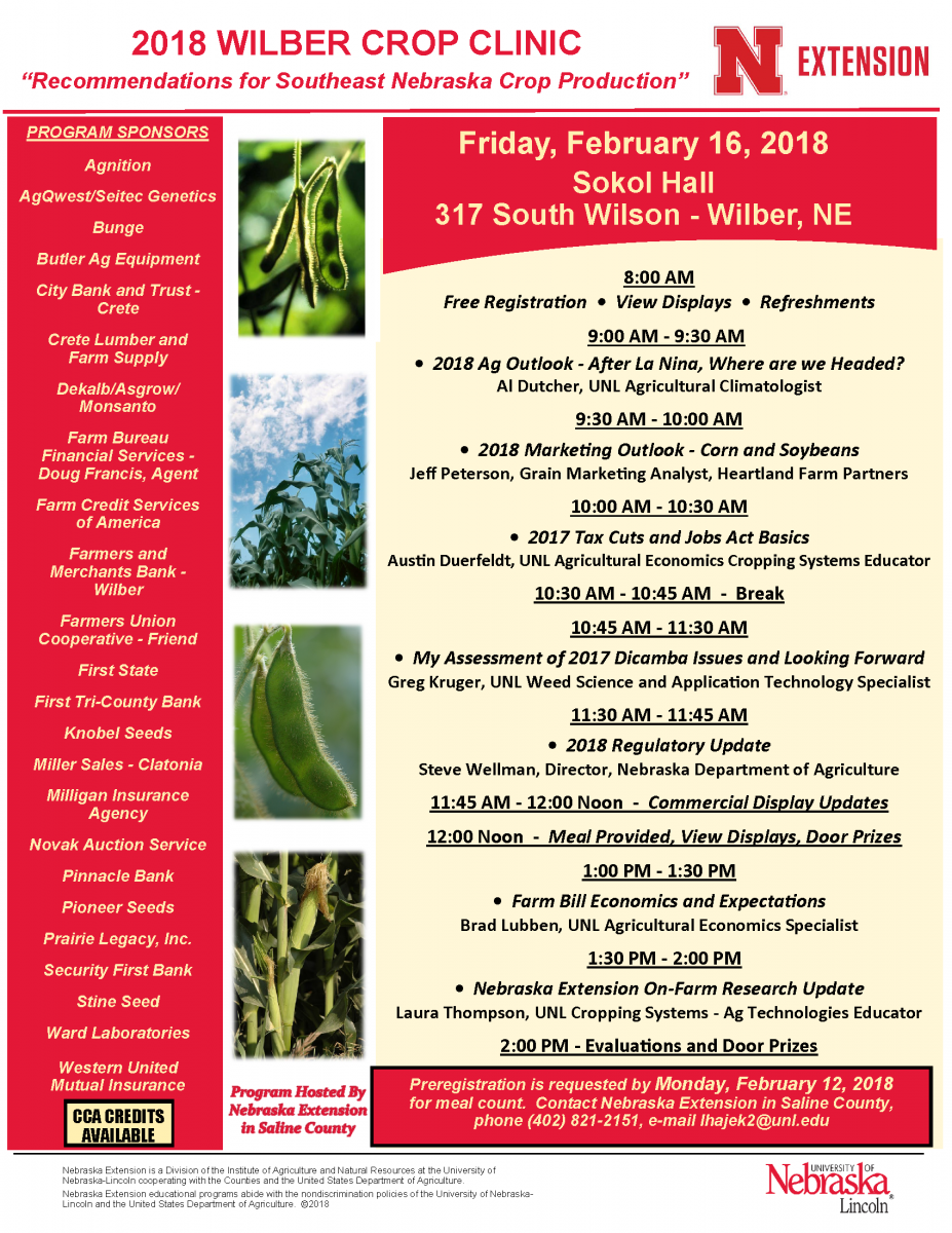 Wilber Crop Clinic flyer