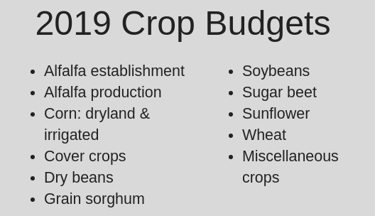 2019 Crop Budget Categories