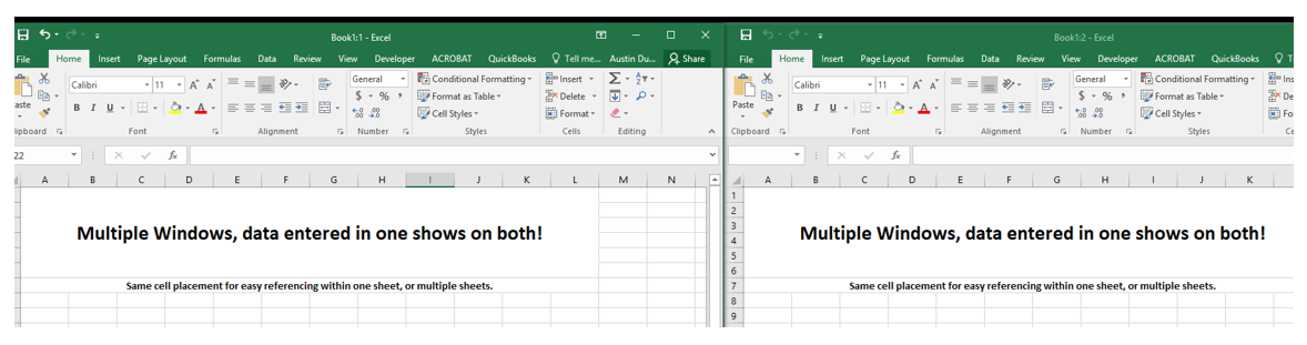 Split windows in Excel