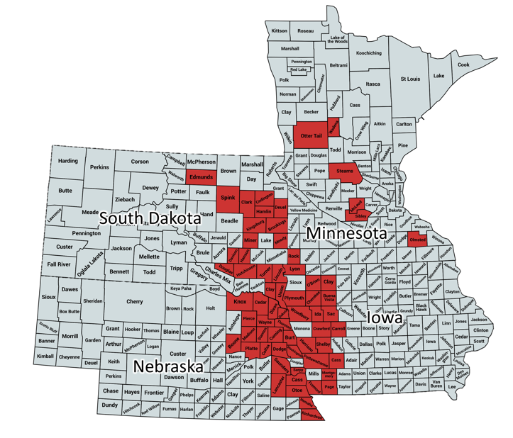 Map of Nebraska, South Dakota, Iowa, and Minnesota counties where soybean gall midge was confirmed.