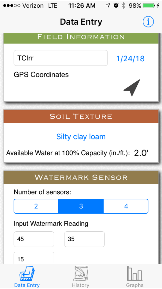 Crop Water App Field Info