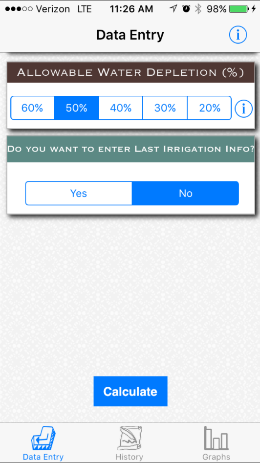 Crop Water App screen