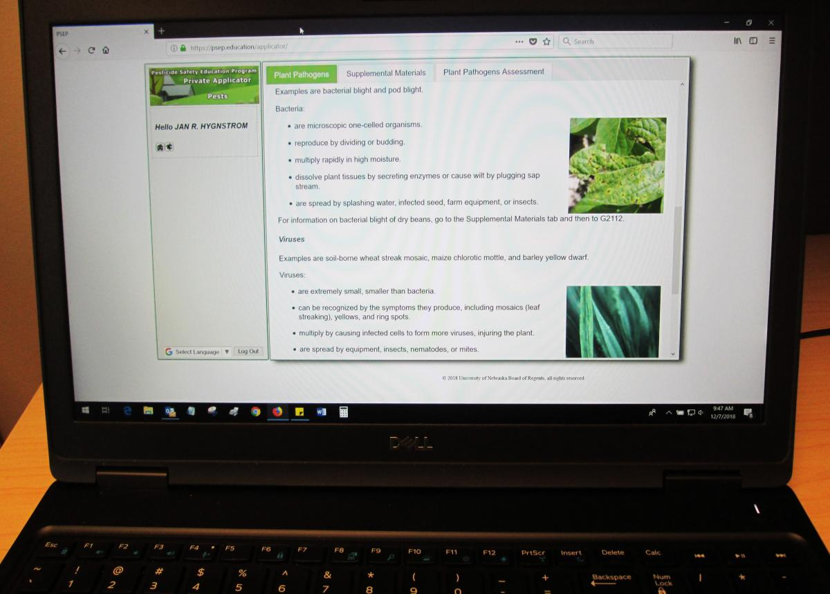 Private pesticide applicator training module on a computer screen