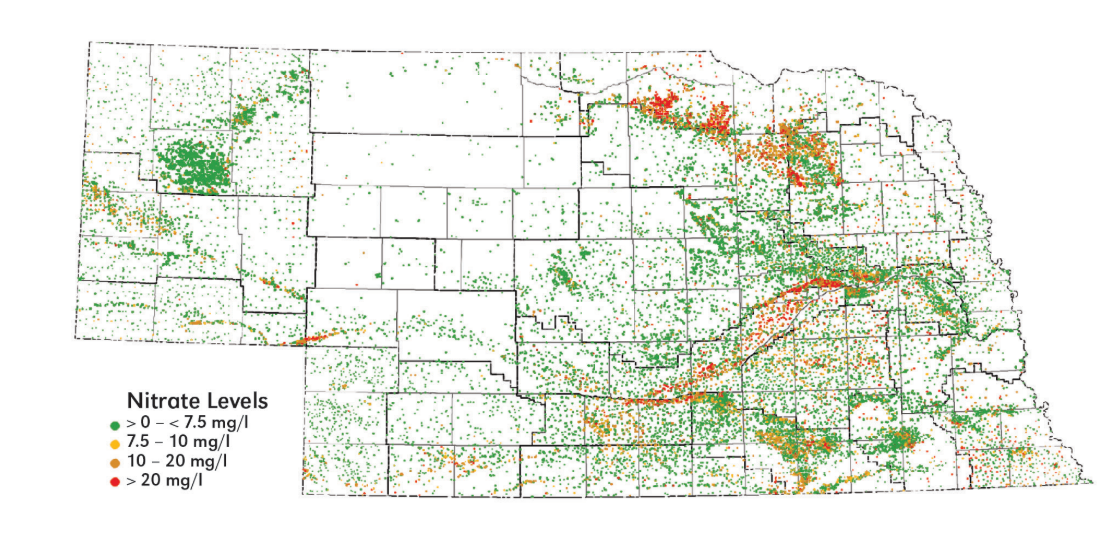 Nebraska map of recorded nitrate concentations 1974-2012