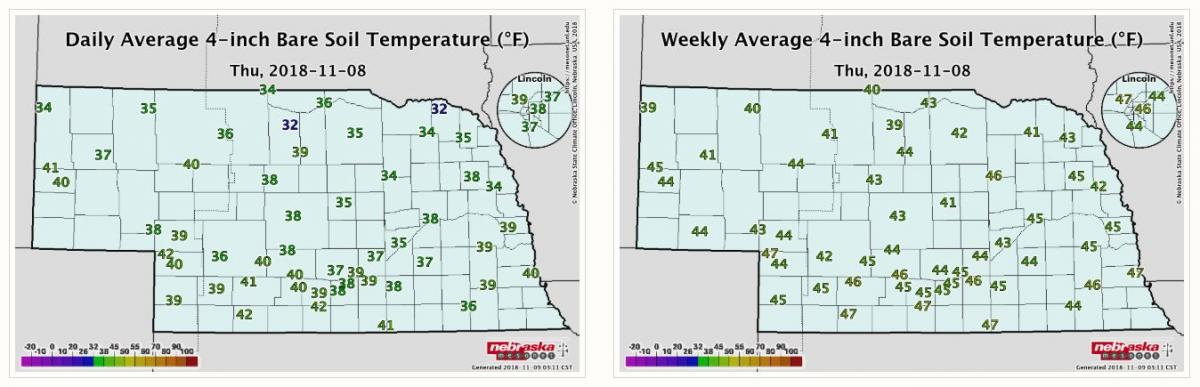 Nebraska maps of daily and weekly average soil temperature