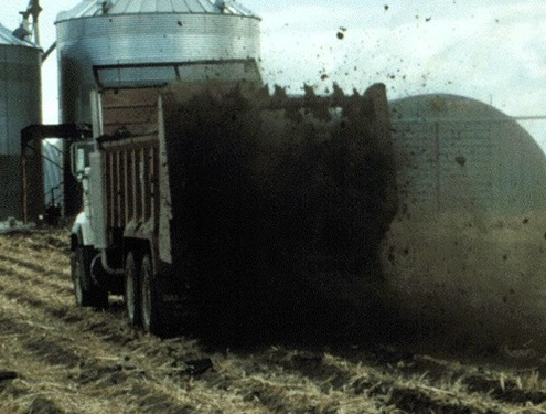 Spreading manure on land
