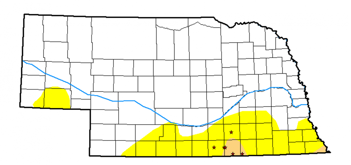 Nebraska map showing current drought areas and locations for water meters