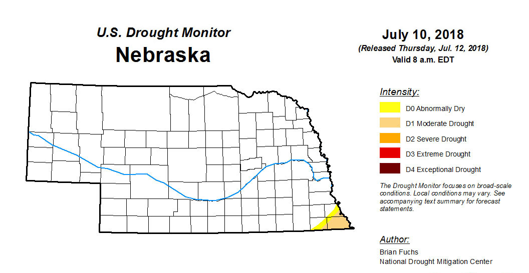 Nebraska drought map as of July 12, 2018