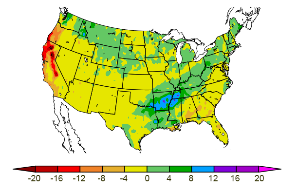 US map showing 3-month precipitation departure from normal
