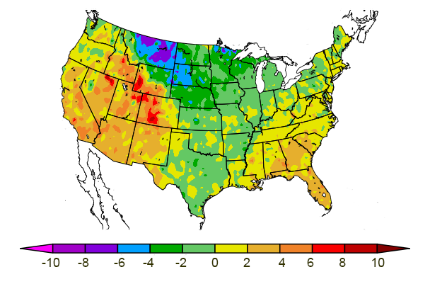 US map of 3-month temperature departure from normal