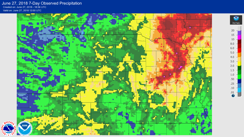Map of radar-estimated rain June 20-27 in northeast Nebraska
