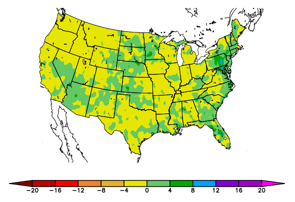 US map showing departure from normal precipitation for July 1-30, 2018