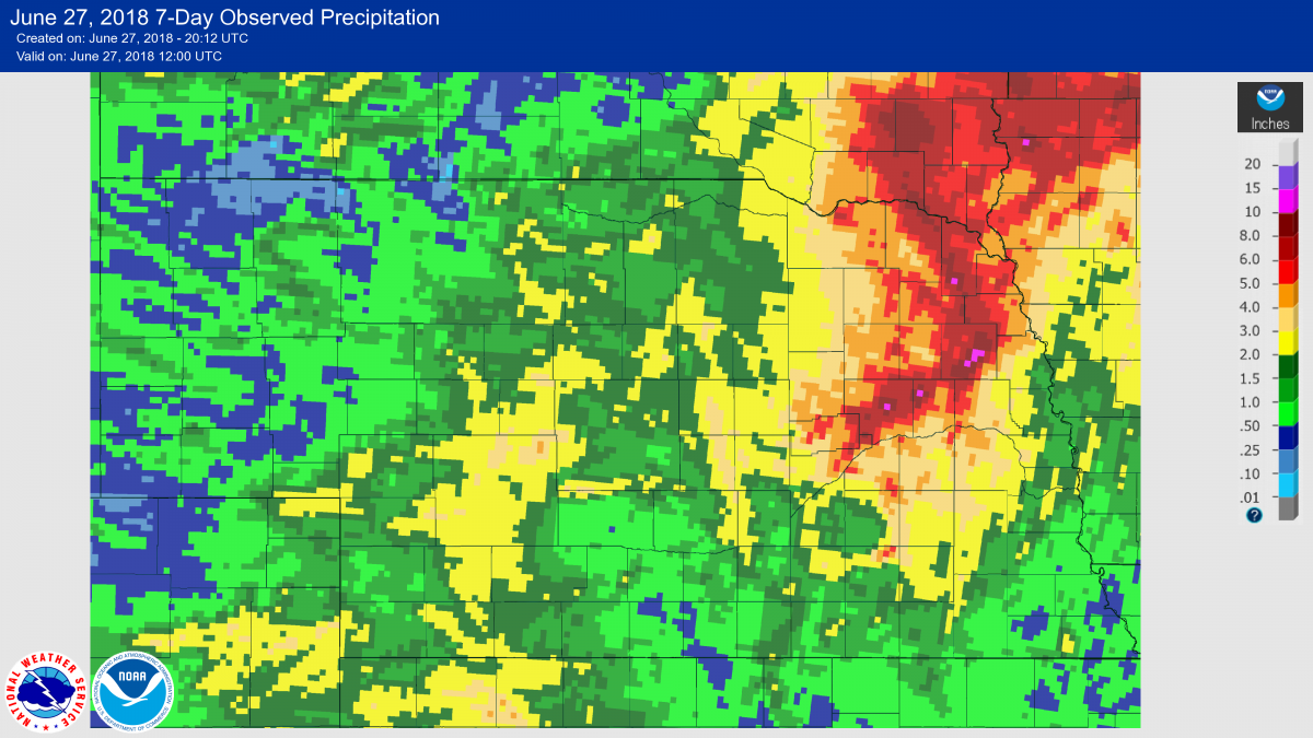 National Weather Service radar estimated precipitation map