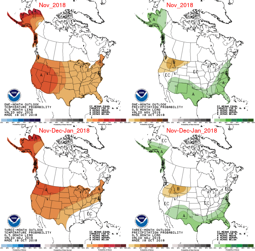 US maps showing winter 2018 forecast for temperature and precipitation