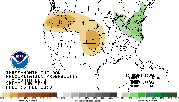 US map of summer 2018 precipitation outlook