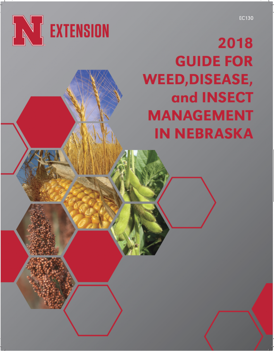 Cover to the 2018 Nebraska Extension Guide for Weed, Disease, and Insect Management in Nebraska