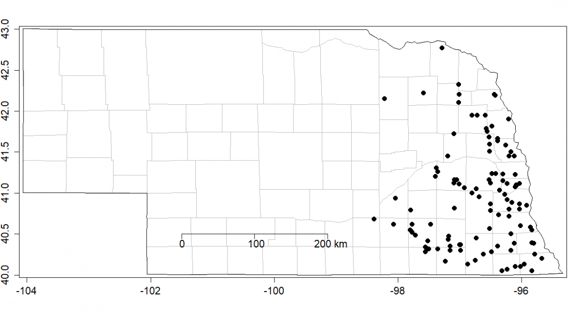 Sites of waterhemp populations