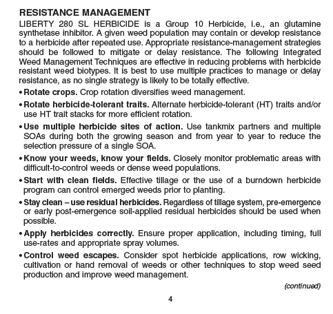 Herbicide label information