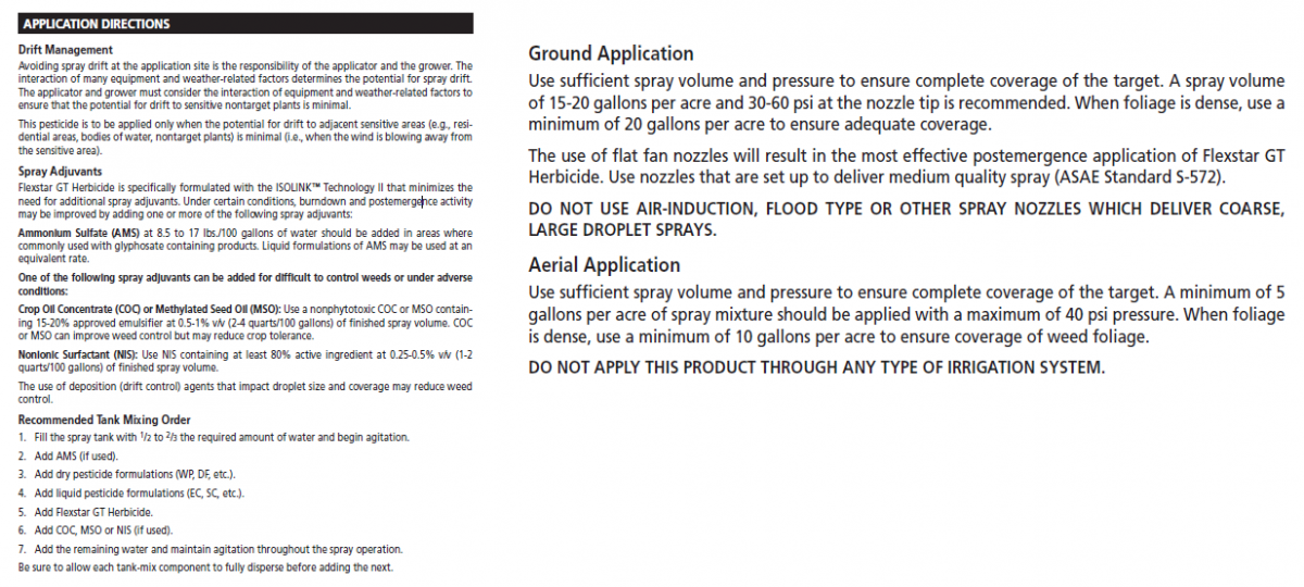 Application information on sample herbicide labels