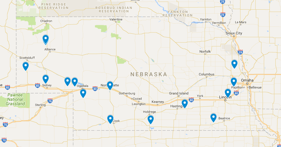 2018 Nebraska winter wheat field day sites