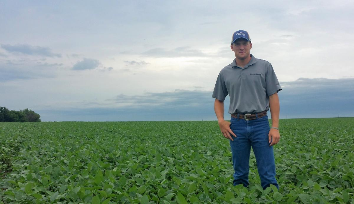 Derek Dam in a soybean field