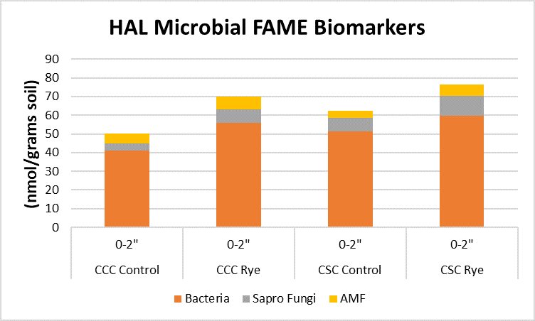 Graph indicating the proportion of bacteria, saprophytic fungi, and arbuscular mycorrhizae biomarkets in the 0-2 inch soil depth.