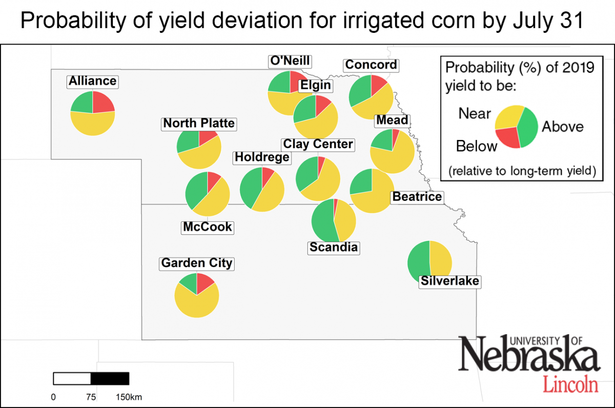 Map of forecasted irrigated yield deviation as of July 31