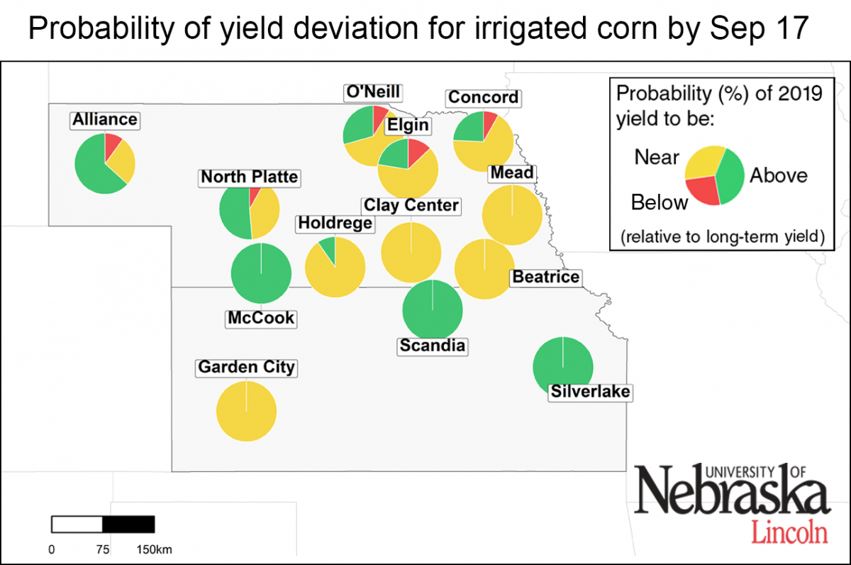 Probability of yield deviation in irigatied corn, as of September 17.