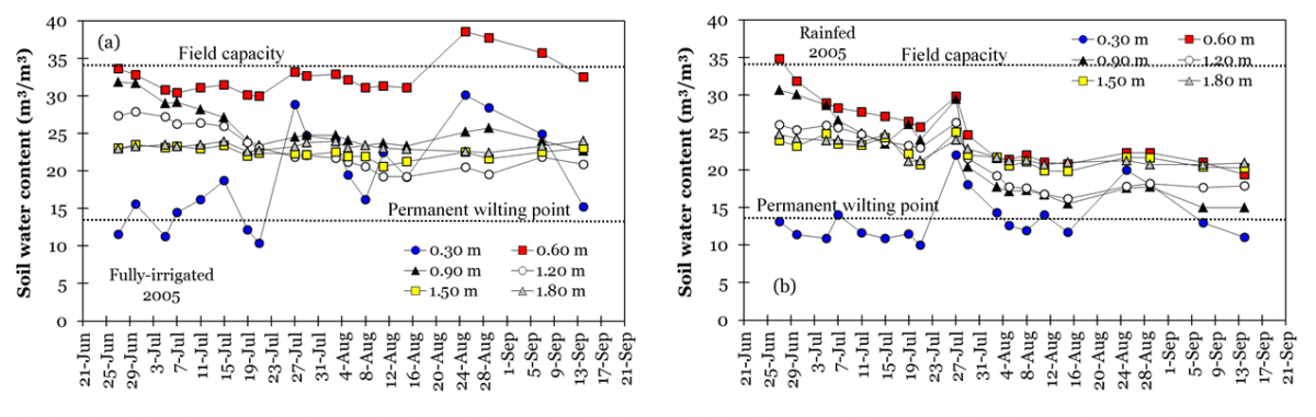 Two charts showing soil water content for Figure 1a irrigated and Figure 1b rainfed corn polots in a silt-loam soil.