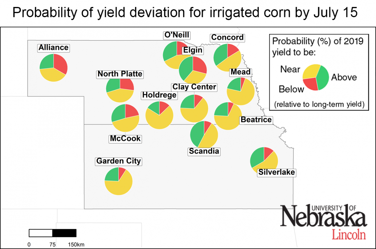 Map of forecasted irrigated yield
