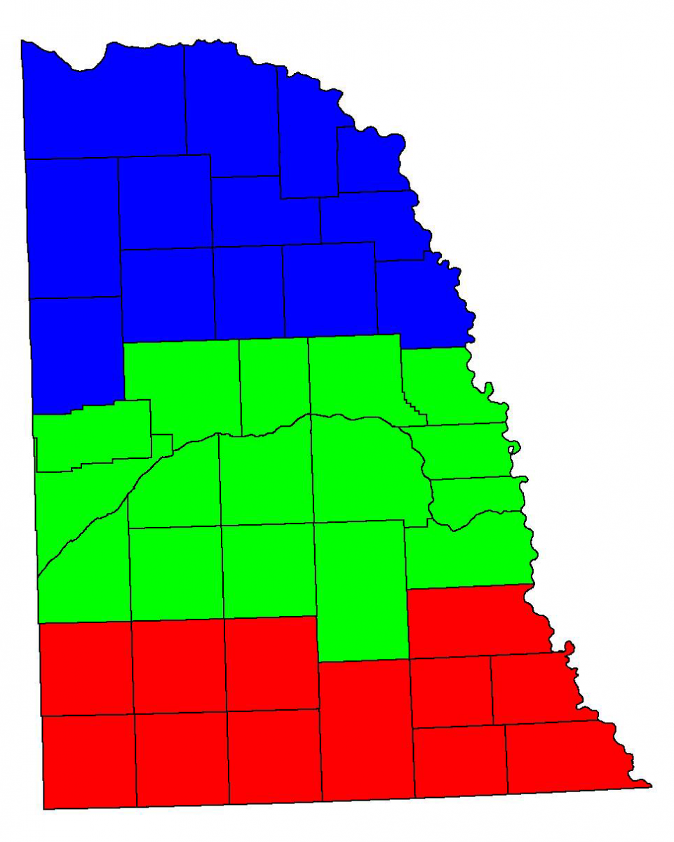 Map showing eastern Nebraska crop reporting districts