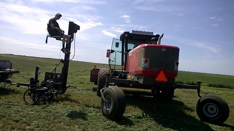 Will Meyer of central Nebraska uses a Life Essentials lift to allow access to his feed truck, horse, pickup, and tractor.