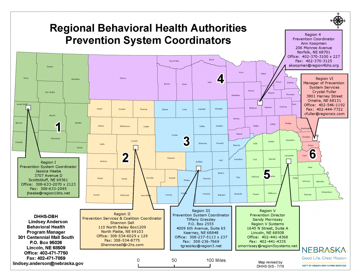 Nebraska map with contact information for state prevention system coordinators
