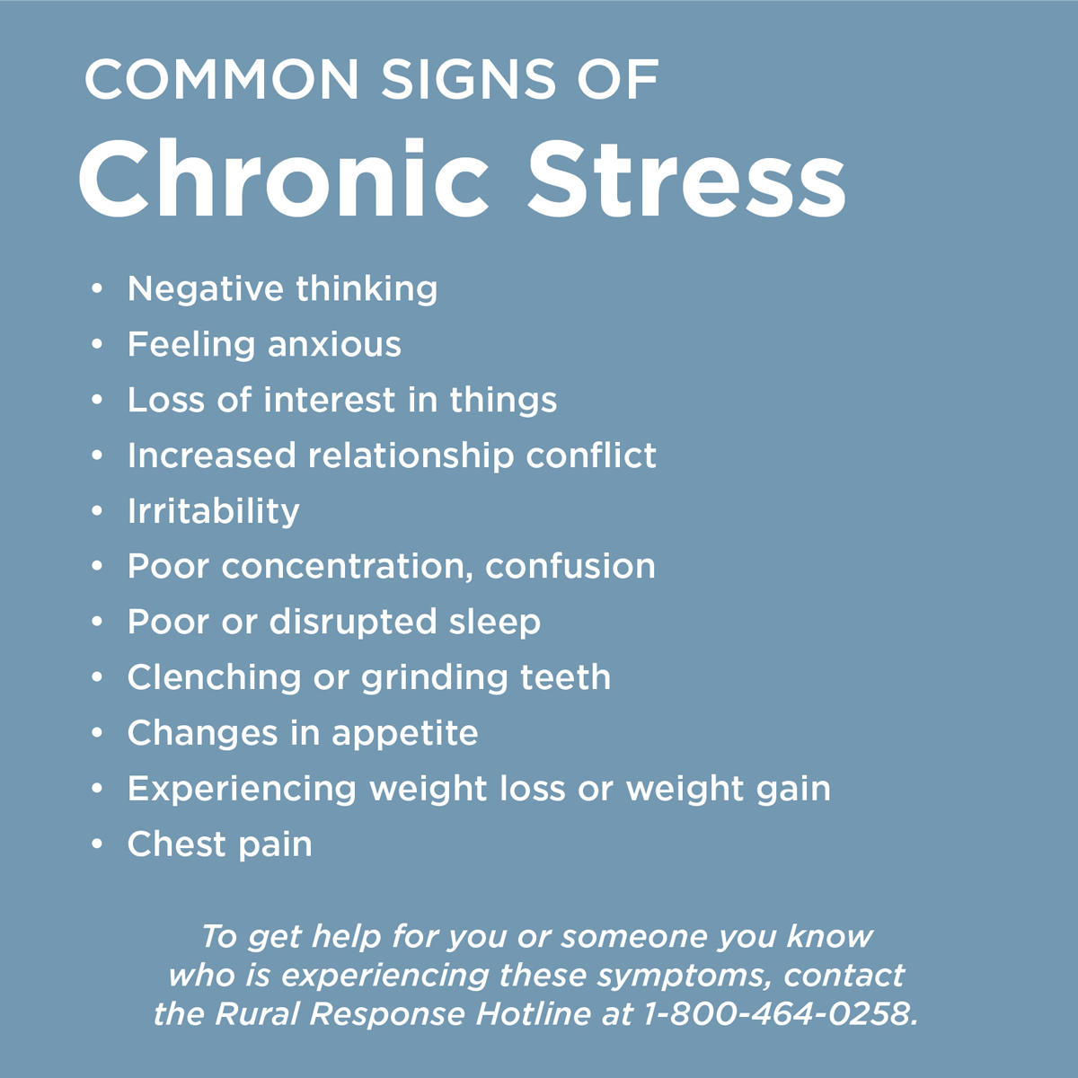 Graphic listing common signs of stress experienced by farmers
