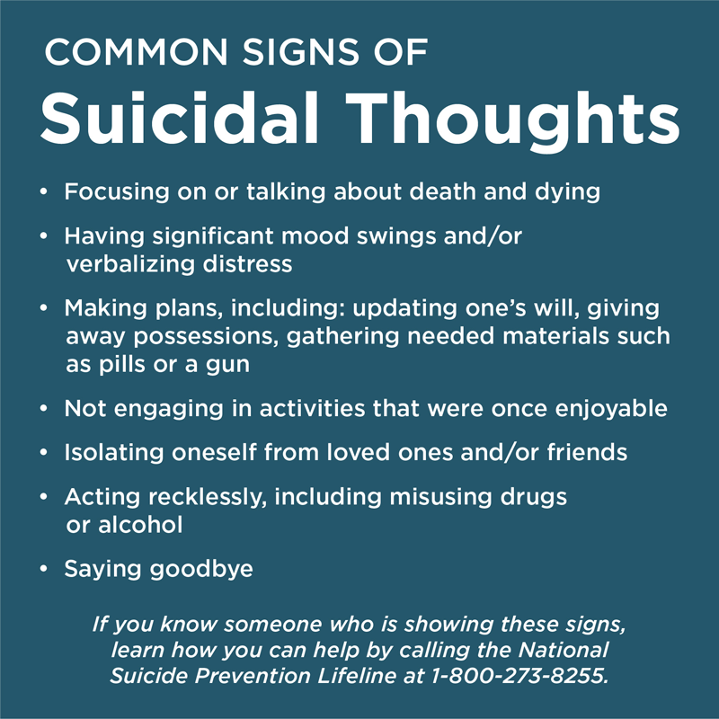Graphic listing common signs that someone may be considering suicide