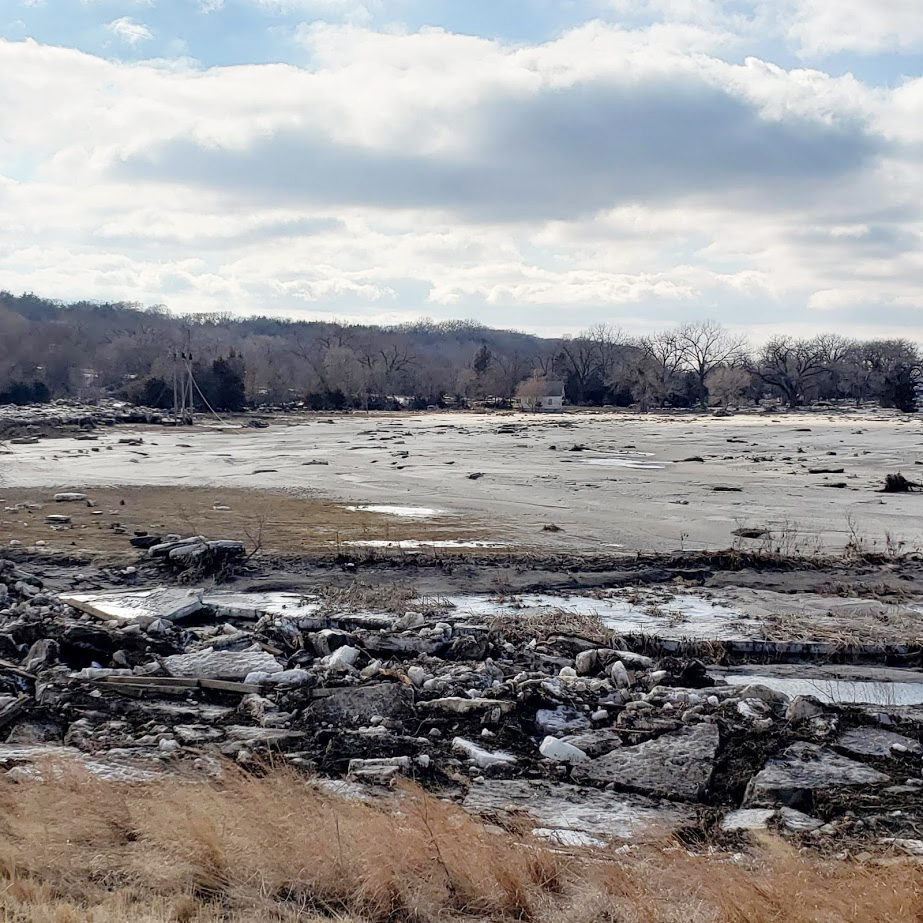 Flood-damaged field in northeast Nebraska in 2019 (Photo by Tamra Jackson-Ziems)