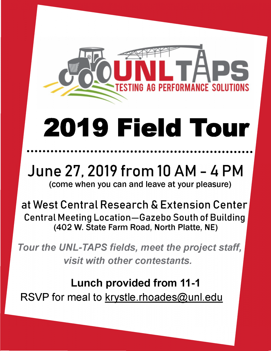 Flyer for the June 2019 UNL-TAPS Field Day