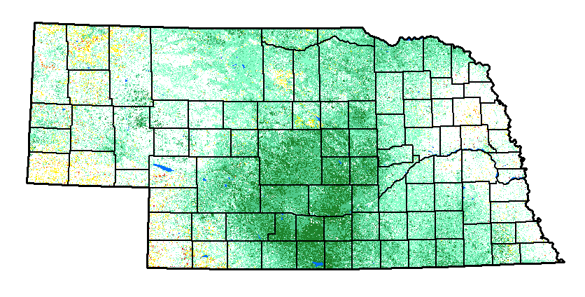 Map showing vegetation and dry areas in the state