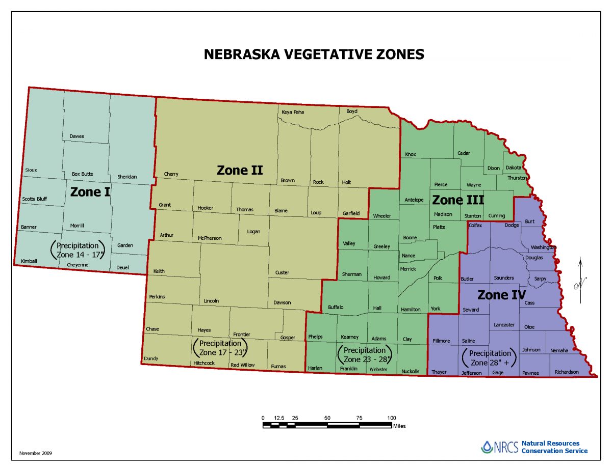 Nebraska map of vegetative zones