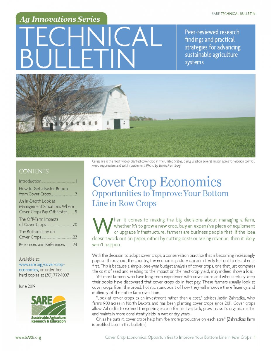 Cover of the USDA SARE resources on economics of cover crops