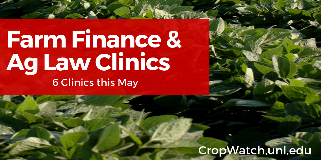 Card promoting June 2019 Farm Finance and Ag Law Clinics
