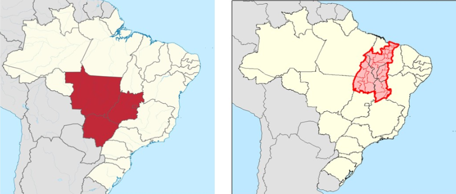Two maps showing the predominant agricultural production areas in Brazil.