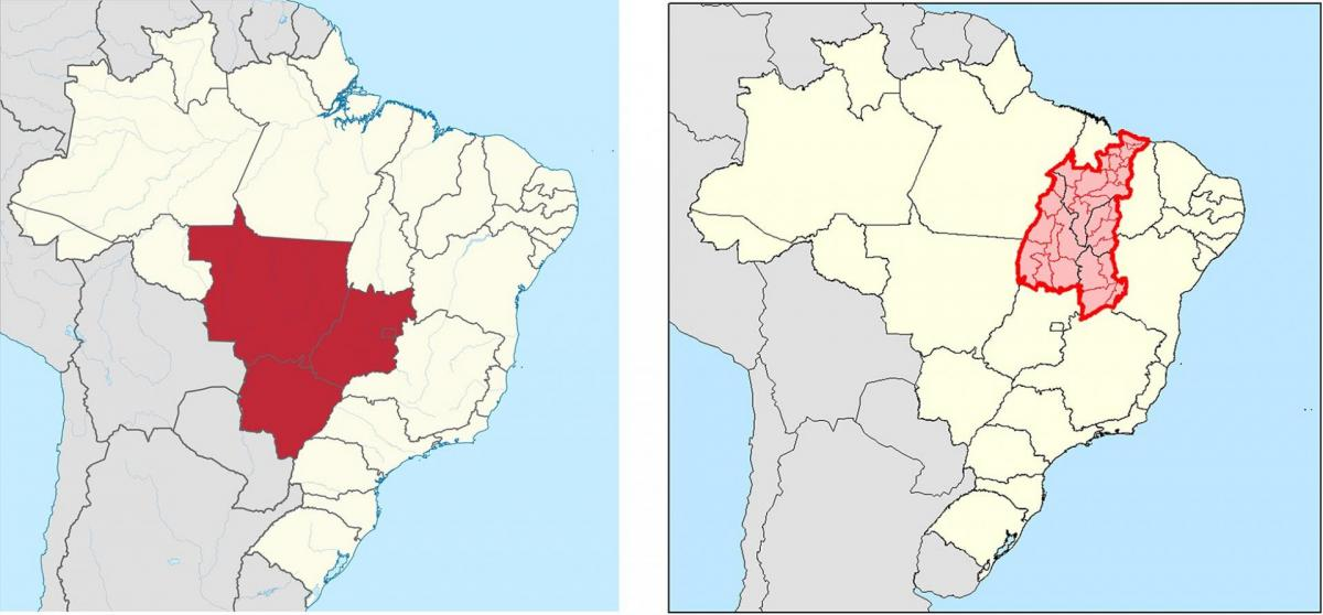 Map showing agricultural areas of Brazil