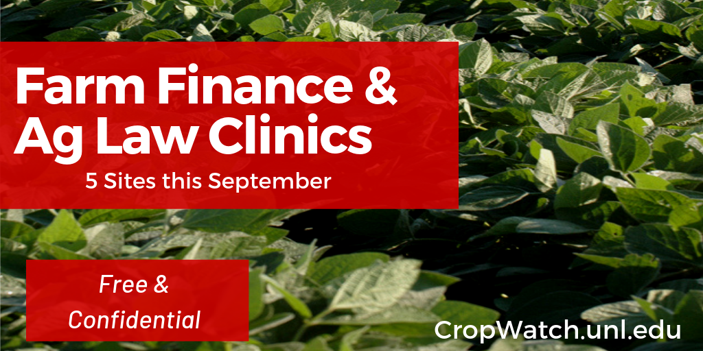 Card promoting the September 2019 ag law and ag finance NDA clinics