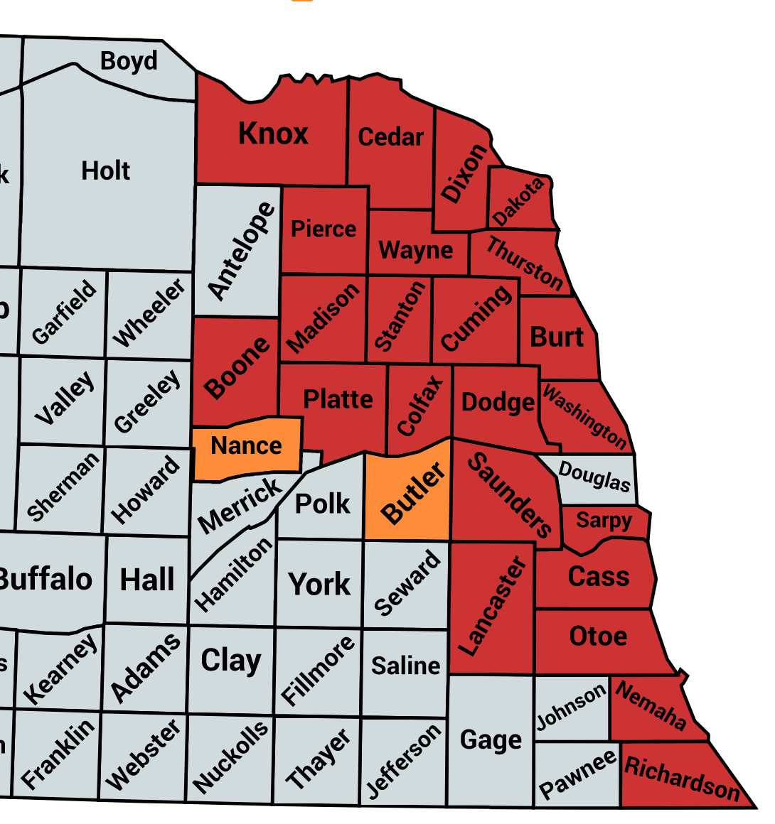 Nebraska county map showing soybean gall midge infestations