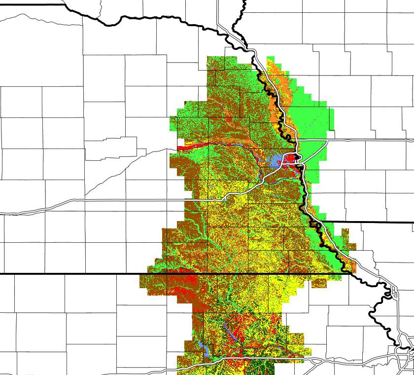 Eastern Nebraska map showing locations for soybean yield gap research