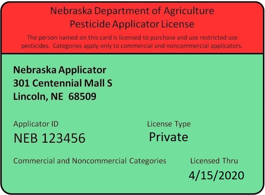 Sample Nebraska pesticide applicator license