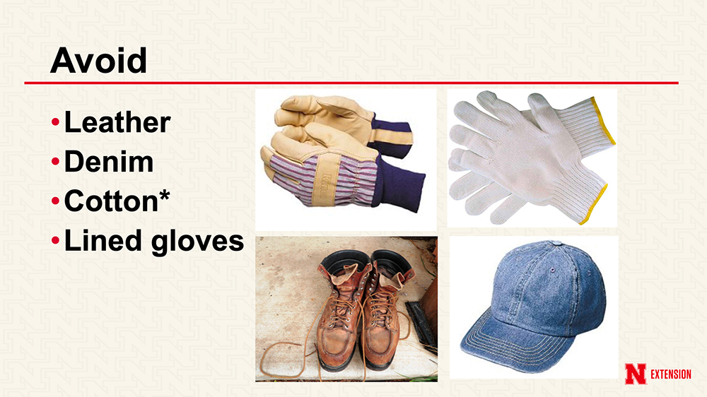 Photo shows types of gloves to avoid when applying pesticides: leather, denim, cotton or lined gloves