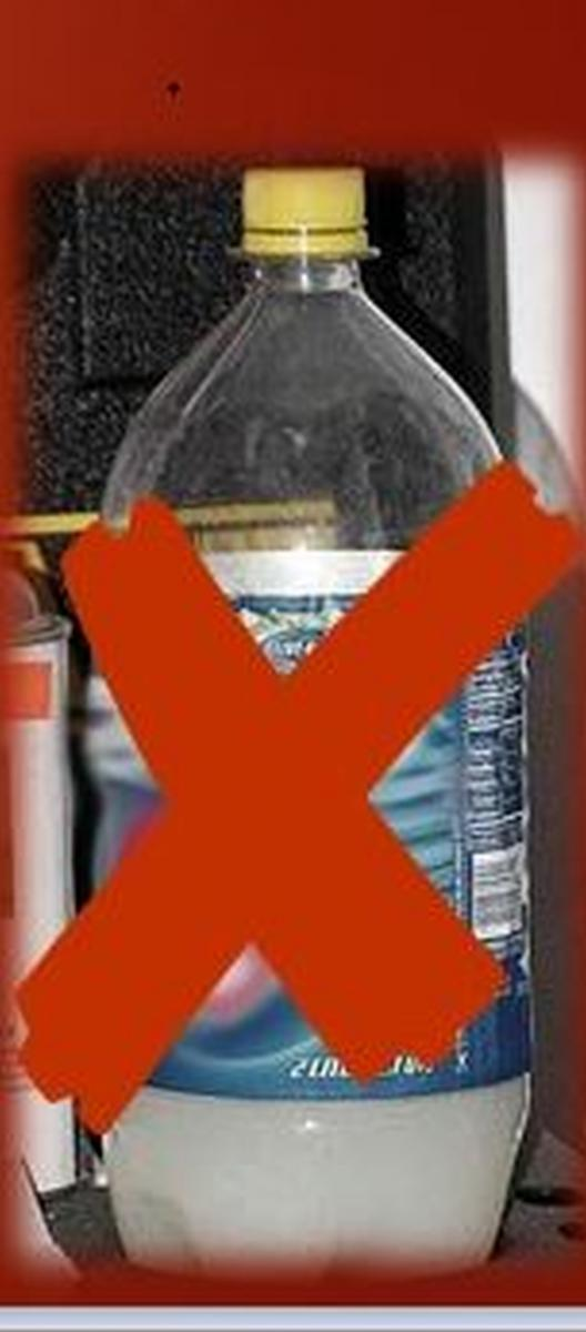 Illustration of pop bottle with a red X over it to indicate not storing paraquat in a pop bottle.